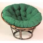 Rattan Papasan Sessel inkl. hochwertigen Polster, D 110 cm, Fb. Darkbrown, Polster dunkelgrün