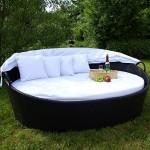 Exclusive Sonneninsel aus Poly Rattan Lounge Rattanbett Sonnenliege weiß
