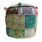 Indischer Sitzhocker Mudha orientalisches Baumwoll-Patchwork auf Rattankorb
