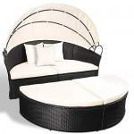 2er Set Sessel für Garten–Gesamtbreite, Durchmesser ca. 180cm–Polyrattan schwarz