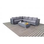 Moderne groß grau Rattan Ecksofa, 3Modular 2-Sitzer-Sofas mit einer Glas-Couchtisch, Dicke Sitz-Kissen, Wintergarten/Garten Möbel Sets
