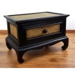 Opiumtisch aus Rattan mit Schublade, asiatischer Beistelltisch der Marke Asia Wohnstudio, Couchtisch, Opiumtisch