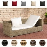 CLP flexibles Luxus Poly-Rattan 3er Lounge-Sofa SOLANO 5mm, ALU-Gestell, 5 Rattanfarben + 5 Kissenfarben, inkl. Auflagen Rattanfarbe: Natura, Kissenfarbe: Cremeweiß