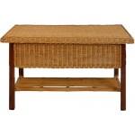 korb.outlet Rechteckiger Rattan-Tisch/Couchtisch mit Holzrahmen in der Farbe Honig