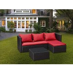 Jet-Line Gartenmöbel Bergen III schwarz-rot aus Stahl Garten Polyrattan Rattan Lounge Set Neu Gartenausstattung