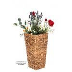 Geflecht-Pflanzsäule SDH17145 D Naturfaser Pflanzkübel Pflanzgefäße Blumenkübel Blumentopf für Blumen Naturfaser Rattan Optik inkl Zinksätze für Innen ,extra breit , Standfest. Fußbodenschonend (Größe L 41cm H x 22cm B)
