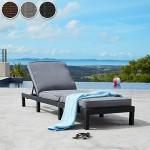 TecTake Polyrattan Sonnenliege Gartenliege | inkl. Polsterauflage | 5 Stufen verstellbare Rückenlehne - diverse Farben - (Grau | Nr. 402308)