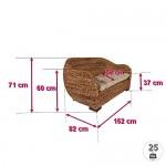 Rotin Design Rattansofa AZUR - Korbsofa - inkl. Sitzpolster - Massivholzfüße - Braun