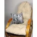 Auflage / Polster für Schaukelstuhl , Liegestuhl , Ersatzpolster Gr. 130 x 50 x 12 cm, Fb. beige + Zierkissen 40 x 40 cm Kongo