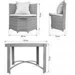 Gartenmöbel Sitzgruppe Möbel Balkon Terrasse Polyrattan 1 Tisch + 4 Stühle + Polster (Grau)