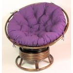 Rattan Papasan Drehsessel inkl. hochwertigen Polster Fb. violett , D 110 cm , Fb. darbbrown