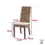 6X Rattanstühle LAVEZZI - Stuhlgruppe - Esszimmerstühle Honig/Kaffee inkl. Sitzkissen