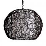 Rattan Deckenleuchte, Deckenlampe,Pendel, dunkelbraun Durchmesser ca. 40cm, incl. 5 Watt LED Leuchtmittel