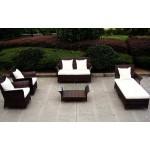 Baidani Designer Rattan Lounge-Garnitur Royalty, braun meliert
