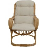 korb.outlet Bequemer Wippstuhl Retro-Stil aus Rattan-Naturrohr 50er Jahre Wippsessel Wipper Relax-Sessel mit Polster Hochlehner Natur