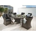 Destiny Gartentisch Luna 150 cm Grau Tisch Polyrattan Geflechttisch Esstisch
