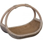Praktischer Holzkorb aus echtem Rattan, Kaminkorb / Kaminholzkorb Natur mit Jute ausgeschlagen (Vintage Weiss)
