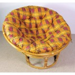Rattan Papasan Sessel inkl. hochwertigen Polster, D 110 cm, Fb. Honig
