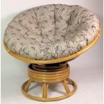 Rattan Papasan Drehsessel inkl. hochwertigen Polster Fb. Lavendel , D 110 cm , Fb. honig