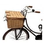 Fahrradkorb mittelgroß aus Rattan mit Deckel