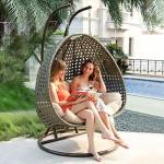 Home Deluxe - Polyrattan Hängesessel - Twin Grau - inkl. Gestell, Sitz- und Rückenkissen