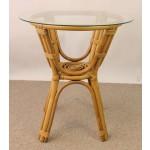 Rattantisch , Rattan Tisch inkl. Glasplatte , Gr. D 60 cm H 66 cm