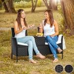 TecTake Sitzbank mit Tisch Poly Rattan Gartenbank Gartensofa inkl. Sitzkissen - Diverse Farben - (Schwarz-Braun   Nr. 401548)