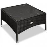 Deuba Polyrattan Tisch Beistelltisch Rattan Teetisch Gartentisch Glasplatte 58x58x42cm schwarz Garten Möbel