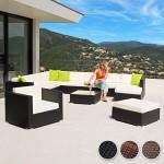 TecTake Hochwertige XXL Aluminium Poly-Rattan Lounge Sitzgruppe Set inkl. Klemmen - Diverse Farben - (Antik-Braun | Nr. 401814)