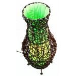 """budawi® - Lampe geflochten """"Ananti"""" 45 cm grün, Naturlampe Rattan, Tischlampe, Holz-Lampe"""