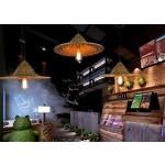 Sai Tai@LED Pendelleuchte Höhenverstellbar Küchen Deckenleuchte Wohnzimmer Designleuchte Deckenlampe Schlafzimmer Modern ,braun,Bambus und Rattan,48cm