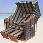 XL Volllieger Ostsee Strandkorb Gartenliege Gartenstuhl inkl. Strandkorbhülle u. 4x Kissen, grün-grau-olive kariert, schwarzes Polyrattan