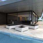 vidaXL Gartenmöbel Loungegruppe 15-tlg. Weiß Poly Rattan