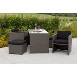 MERXX Set: Gartenmöbelset Merano, 11-tgl., 2 Sessel, 2 Hocker, Tisch 128x70 cm, Polyrattan grau