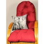 Auflage / Polster für Schaukelstuhl , Liegestuhl , Ersatzpolster Gr. 130 x 50 x 12 cm, Fb. rot + Zierkissen 40 x 40 cm Kongo