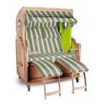Strandkorb Kampen Spezial 2-Sitzer Grün Grau Weiß Seite Grün mit Bullauge