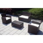 Baidani Gartenmöbel-Sets 10d00008.00001 Designer Garnitur Breeze, 1 Tisch mit Glasplatte, 2-er-Sofa, 2 Sessel, schwarz