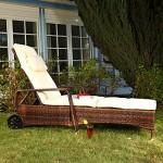 Melko® Polyrattan Sonnenliege Gartenliege, verstellbar, wetterfest, inkl. Auflage verschiedene Modelle (213 x 76 x 52 cm, Braun)
