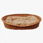 GalaDis Großer Hundekorb / Hundebett / Hundesofa aus Weide mit weichem Hundekissen für mittelgroße und große Hunde 100 cm