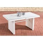 CLP Polyrattan-Gartentisch FISOLO mit Einer Tischplatte aus Glas I Wetterbeständiger Tisch aus Polyrattan Weiß