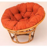 Rattan Papasan Sessel inkl. hochwertigen Polster, D 110 cm, Fb. Brown wash, Polster Lachsfarben