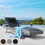 TecTake Polyrattan Sonnenliege Gartenliege Rattan Garten Liege Gartenmöbel mit Kissen schwarz