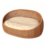 YIXIN Katze und Hund Bett / Haus Rattan Material Oval Pure Hand Weaving Khaki 58 * 40 * 30cm
