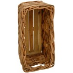 Stabiler Kaminholzkorb, Flechtkorb mit Holzboden / Rechteckiger Holzkorb aus unbehandeltem Natur-Rattan Korb Aufbewahrung Kamin (75x37)