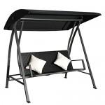 Outsunny® 3-Sitzer Hollywoodschaukel Schaukel Polyrattan Metall mit Kissen belastbar bis 360kg Neu (Schwarz)