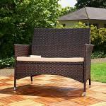 Melko Gartenbank PolyRattan Gartenmöbel Lounge Sitzgarnitur, Braun