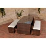 CLP Poly-Rattan Gartenbar Set CORUNA, 2 x Sitzbank ca. 160 x 40 cm, Bar-Tiisch 180 x 85 cm, Sitzkissen 6 cm dick Braun