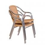 20er Set Aluminium Doppelrohr Stapelstühle, Gewerbetauglich, Poly-Rattanbespannung Gartenstuhl Silber / Beige bis 150 kg