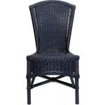 Mehrfarbiger Rattan Esszimmer-Sessel/Küchenstuhl hohe Rückenlehne/Hoher Esszimmer-Stuhl mit Armlehne/Korbsessel aus Natur Rattan (Dunkelblau, ohne Armlehne)