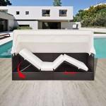 Festnight Sonnenliege Relaxliege mit Baldachin Gartenliege Camping Liege aus Polyrattan 205 x 62 x 70 cm für Schwimmbad Garten oder Terrasse - Braun